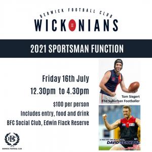 Berwick Football Club Wickonians 2021 Sportsman Function